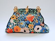 Flowers bag. Traveling inspired, vintage look, colored porcelain bag.  Materials: colored porcelain, luster, metal chain.  Size: 30cm x 12.5cm x 20cm