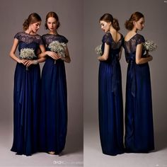 $64 - Bateau Sheer Lace Long Cheap Bridesmaid Dresses Cap Sleeves Floor Length Evening Dress Prom Gowns Wedding Party Dress 2014,   DHgate.com
