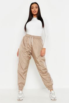 Womens Plus Side Stripe Shell Jogger - Beige - 22 Trouser Co Ord, Joggers Outfit, Printed Palazzo Pants, Running Leggings, Striped Leggings, Sporty Outfits, Long Sleeve Bodysuit, Looks Style, Long Sleeve Crop Top