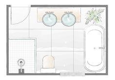 Bathroom decor, Bathroom decoration, Bathroom DIY and Crafts, Bathroom Interior design Bathroom Layout Plans, Master Bathroom Layout, Bathroom Design Layout, Modern Bathroom Design, Bathroom Interior Design, Layout Design, Bathroom Ideas, Bathroom Organization, Design Ideas