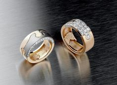 Saarikorpi Design, Puzzle II rings, 18K yellow and white gold, W/VS diamonds