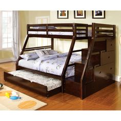 Cozy up with this warming twin over full bunk bed and its many features. Built in drawers create a handy access step to the top bunk, which is securely guarded by sturdy railings.