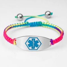 Rainbow Tropic Macrame Satin Cord Bracelet With Blue Medical Symbol Id Tag Adjule Item Pas Of Allergic Kids