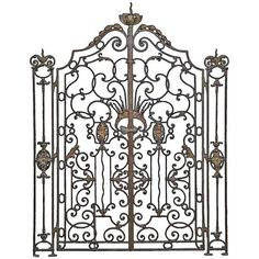 View this item and discover similar doors and gates for sale at - A rare French Louis XV style wrought iron gate and its side grilles dated Century. # Dimensions : - Side grilles : Height - 67 in. Wrought Iron Garden Gates, Grades, Iron Art, Iron Doors, Metal Artwork, Gate Design, Architectural Elements, Architecture, Antiques
