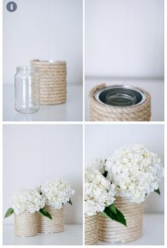 DIY vase from a tin can! Super easy and totally stylish. All you need is a tin… Craft Wedding, Diy Wedding, Wedding Decorations, Table Decorations, Crafts To Sell, Diy And Crafts, Wedding Gifts For Guests, Diy Décoration, Diy Hack