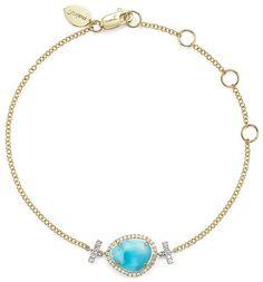 Meira T 14K White and Yellow Gold Larimar and Diamond Bracelet