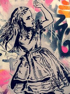 """Alice in Wonderland Graffiti V "" Canvas or Print Wall Art 