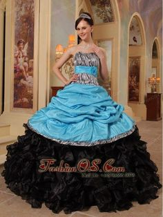 Buy stylish zebra print ruffled aqua blue and black quince dress with pick ups from zebra quinceanera dresses collection, strapless neckline ball gowns in color,cheap floor length organza taffeta printed dress with lace up and for sweet 16 quinceanera . Sweet Sixteen Dresses, Sweet 15 Dresses, Classy Prom Dresses, Dresses Elegant, Sweet Dress, Cheap Prom Dresses, Amazing Dresses, Dresses 2013, Black Quinceanera Dresses