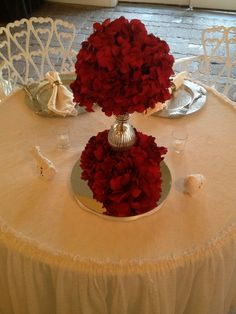 Sweet Rose centerpieces to set the mood in the Heather's Glen Reception Hall