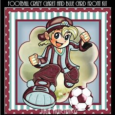 Football Crazy Claret and Blue Card Front Kit on Craftsuprint designed by Julie Hutchings - wonderful card front Kit With 4 sheets to print cut and assemble sheet 1 main and sentimentssheet 2 decouapagesheet 4 topper and gift tag topperssheet 3 insertsentiment tagsHappy BirthdayBirthday Boy10 Today! Blank for your own sentiment - Now available for download!