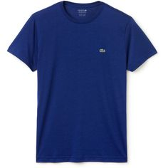 Lacoste Short Sleeve Pima Jersey Crewneck T-Shirt (329.745 IDR) ❤ liked on Polyvore featuring men's fashion, men's clothing, men's shirts, men's t-shirts and varsity blue