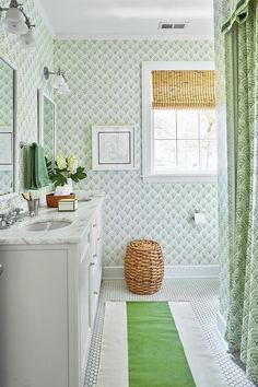The Children's Bath - How To Master Classic Georgian Style - Southernliving. She papered the gender-neutral children's bath in Sister Parish's Chou Chou pattern with a matching shower curtain.