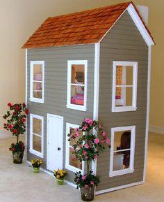 Custom American Girl Dollhouse by AmericanDollhouse. Love how its in the middle of the room. Custom American Girl Dollhouse by AmericanDollhouse. Love how its in the middle of the room.