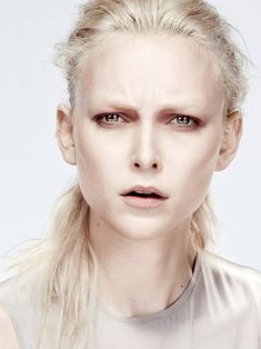 Model- Pale makeup with accent on deep eyelid colour .... Architectural! Ideally eyebrows should be very light