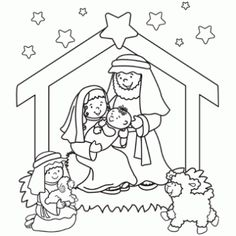 Nativity Coloring Page - Free Christmas Recipes, Coloring Pages for Kids & Santa Letters - Free-N-Fun Christmas