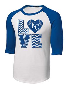 Kansas City KC Royals Raglan 2 color Baseball Shirt LOVE Heart Chevron Design Youth and Adult sizing up to 6XL