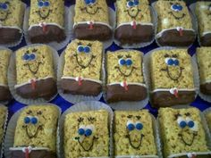 Sponge Bob rice crispy treats.   Follow your favorite rice crispy treat recipe and add yellow food coloring in while mixing.  Let cool in a greased square or rectangular casserole pan.   Once cooled cut to the size you want. To make the paints dip into melting chocolates. I used Wilton's choc, you can find it at many craft store.  I pipped the whites of the eyes, belt, eye lashes and mouth. And add mini m for the blue part of the eyes and red licorice rope for the tie.