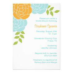 Blue and Orange Floral Invitations