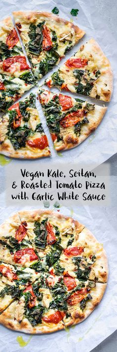This ultra flavorful vegan pizza has a creamy garlic white sauce base and is topped with seared seitan chicken juicy roasted tomatoes and torn kale which bakes up nice an. Whole Food Recipes, Dinner Recipes, Cooking Recipes, Family Recipes, Pizza Recipes, Vegan Foods, Vegan Dishes, White Pizza Sauce, Chicken White Sauce