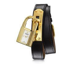 Kelly Hermes gold-plated steel watch, 20 x 20mm, white dial, quartz movement, double tour black Barenia calfskin leather strap