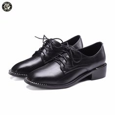 78.32$  Watch here - http://aliv6y.worldwells.pw/go.php?t=32789787236 - FEETSAY Size 35-43 Footwear Women's Cow Leather Shoes Pointed Toe Lace Up 2017 New Pumps Black Women Dress Shoes
