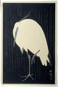 Zilverreiger in de regen, Ohara Koson, 1925 - 1936