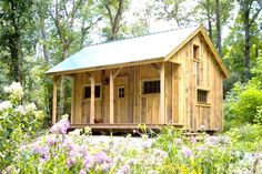 16' x 20' Vermont Cottage A. Available as a kit (estimated assembly time - 2 people, 40 hours) or diy plans ($49.95). http://jamaicacottageshop.com/shop/vermont-cottage-a/ http://cdn.jamaicacottageshop.com/wp-content/uploads/pdfs/pdf16x20vtr_a.pdf http://jamaicacottageshop.com/free-shipping/