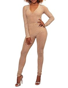5883e0b514f4 LKOUS Women Sexy Mesh Sequin Playsuit Halter V Neck Bodycon Club Leggings Jumpsuits  Romper S 036khaki    Click for more Special Deals ...