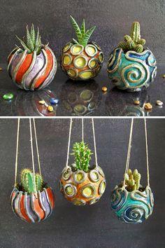 Set de trois pots de pot en céramique raku pour plantes