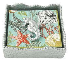 Mariposa Sueno Napkin Box with Seahorse Weight: Mariposa Sueno Napkin Box with Seahorse Weight. A softly textured, beaded napkin box. Includes paper cocktail napkins by Caspari. 5.75