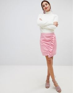 NA-KD Side Frill Mini Skirt at ASOS. Latest Fashion Clothes, Latest Fashion Trends, Fashion Online, Asos Online Shopping, No Frills, Women Wear, Mini Skirts, Slim, Womens Fashion