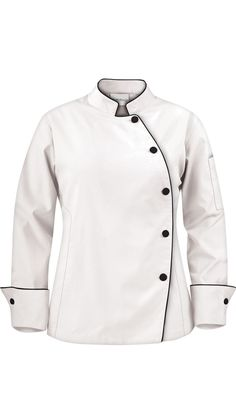 Women's Asymmetrical Chef Coat - Contrast Piping - 65/35 Poly/Cotton $24.99 http://www.chefuniforms.com/chef-coats/womens-chef-coats/81515-womens-chef-coat.asp?frmcolor=whibl