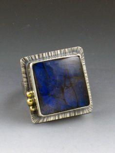 Labradorite Ring , large labradorite ring, size 8 ring, silver and gold, 10kt gold ring, mixed metal ring, labradorite, boho ring, big ring by MicheleGradyDesigns on Etsy
