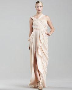 ShopStyle: J. MendelAsymmetric Chiffon Gown, Blush
