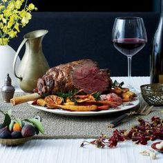Leg of Lamb with Olive-Wine Sauce Recipe | Cooking Light #myplate #protein #veggies