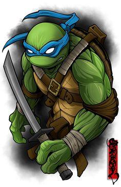 Image of The Leader One Ninja Turtles Art, Teenage Mutant Ninja Turtles, Cartoon Drawings, Cartoon Art, Chibi Characters, Ninja Turtle Leonardo, Leonardo Tmnt, Camo Wallpaper, Comics
