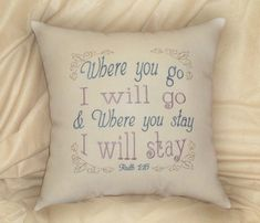 Bible verse pillow Ruth 116 I will go 14x14 inch by JustForGiggles, $30.00