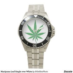 Marijuana Leaf Single over White Wristwatch $114.00 #Zazzle #MMJ #Cannabis #Happy420 Nine point Marijuana leaf. Cannabis is recognized legally in several US states, mostly for medical purposes, but some are recognizing recreational use as well. Pot smokers and medical patients will enjoy these products! We have an entire line of Cannabis and MMJ related designs, visit our store for more!