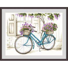 Cross stitch Cross stitch kit - Bicycle with surfinia Stitch Kit, Cross Stitch Patterns, Bicycle, Canvas, Prints, Color, Seed Stitch, Tela, Bike
