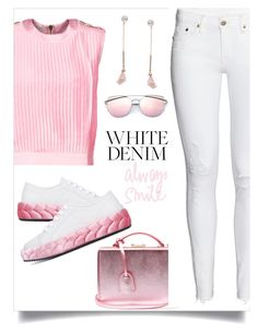 """""""#whitejeans"""" by liligwada ❤ liked on Polyvore featuring Pierre Balmain, Marco de Vincenzo, Humble Chic, Mark Cross and H&M"""