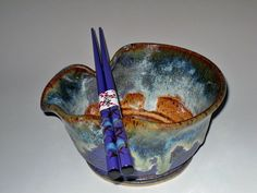Stoneware Rice Noodle Bowl with Chop Sticks Noodle Bowls, Rice Bowls, Rice Noodles, Chopsticks, Serving Bowls, Stoneware, Sushi, Christmas Gifts, Tableware