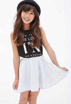 Textured Glitter Mini Skirt (Kids)   FOREVER21 girls - 2000099743 Women, Men and Kids Outfit Ideas on our website at 7ootd.com #ootd #7ootd