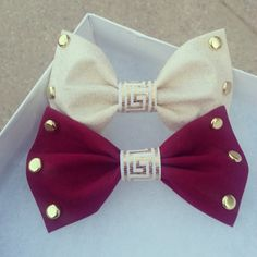 Hair Bow Bow Tie Maroon Cream Studded Hair Bow by VarietyCouture, $7.50