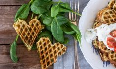 Waffles with cheese and spinach