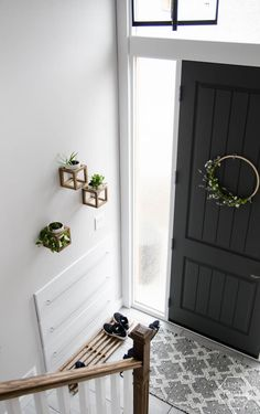 DIY Split Level Entry Makeover- I LOVE this entry. The oversize door scandi influence and that shoe storage! Design Seeds, Classic Room, Home Decor Bedroom, Living Room Decor, Split Entry Remodel, Feng Shui, Tiny House, Split Foyer, Split Level Entryway