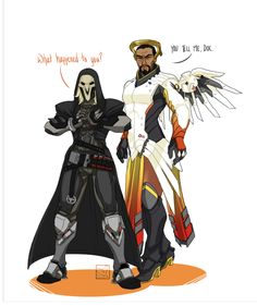 Overwatch Outfit-Swap: Mercy and Reaper [Submission by @nychannel-rs and @veigarthevile] As it turns out, Mercy looks good in everything, and Reaper's outfit is actually not hard to draw. I was really worried about all the fiddly bits - but mostly...