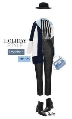"""""""Holiday style: Leather Pants!"""" by mihreta-m ❤ liked on Polyvore featuring Prabal Gurung, Bundy & Webster, Topshop and Furla"""