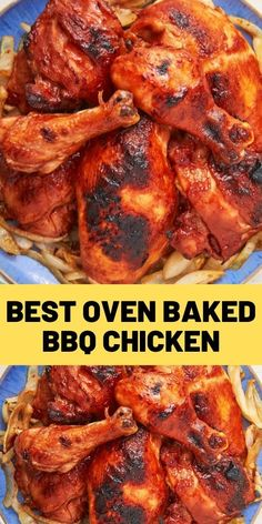 Best Oven-Baked BBQ Chicken Baked Bbq Chicken Wings, Oven Barbecue Chicken, Grilled Bbq Chicken, Oven Chicken, Bbq Chicken Marinade, Best Bbq Chicken, Ginger Chicken, Fried Chicken, Drumstick Recipes Oven
