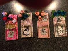 """Magnetic Mouse Trap Memo Holders......$4.00 each....... Measures: 4"""" long x 2"""" wide... *NOTE: These are made from actual (NEW) mouse traps....they are not hand cut. We decoupage them and add other embellishments."""