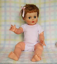 """60s 24"""" Horsman's CANDY KID Doll,- All Viny - GC- Nicely Dressed 